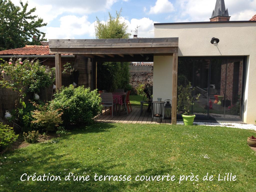 Création d'une terrasse couverte près de Lille